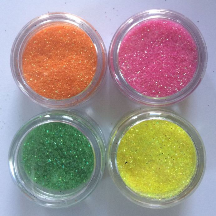 4 x 5g FINE COSMETIC GLITTER BRIGHT PINK YELLOW  ORANGE GREEN